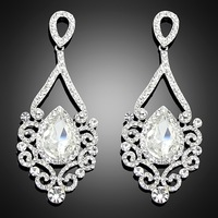 Fashion platinum silver Rhinestone Classic Water Drop Earrings for Bridal Wedding Jewelry --Bc051