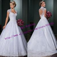 vestido de noiva 2015 Fashionable Modest A Line Cap Sleeve Lace Backless Wedding Dress Bridal Gown Custom Made