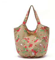 100% cotton canvas cute women handbag shoulder bags casual bowknot strawberry girl bags tote women bag bolsas femininas