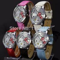 10pcs/lot 2014 Hot Sale Fashion Cartoon Quartz Watch Hello Kitty Watches Woman Children Kids Dress Watch Christmas Best Gift