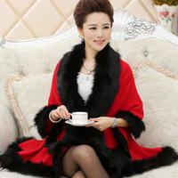 sweater cardigan fur shawl cloak sweater outerwear knitted sweater women Fashion 2014 cloak women clothes coat top faux leather