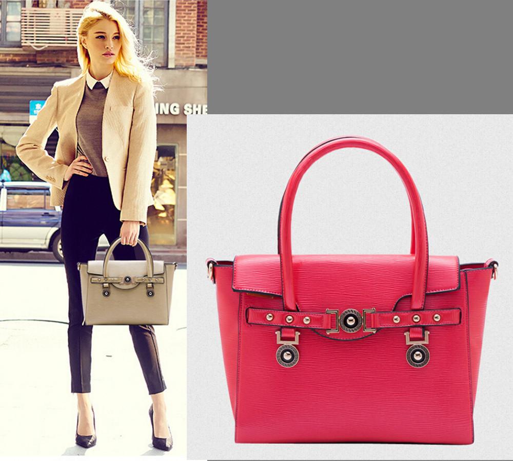 2014 Winter New Designer Women Handbags Vintage Hardware Rivets Bat Tote Quality Epi Leather Shoulder Bag European Fashion Purse(China (Mainland))