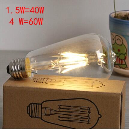 Free shipping retro energy saving light bulbs E27 1.5W = 40W, 4W = 60W incandescent LED decorative tungsten filament bulb Edison(China (Mainland))