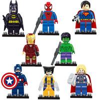 Super Heroe figure The Avengers 8pcs/lot Iron Man Hulk Batman Thor Building Blocks Sets Minifigure Bricks Toys Compatible