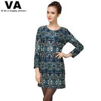 Autumn Dress 2014 New Fashion Green Printing O Neck Long Sleeve Dress for Women Plus Size Slim Women Mini Dresses On Sale
