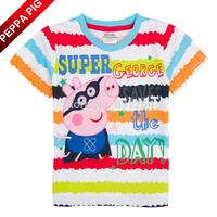 2015 New Kid Boy Summer Peppa Pig T-shirt George Pig and Print Short Sleeve Clothes Children Boy Cartoon T-shirts 2-6Year