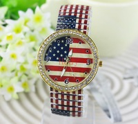 New Arrive Women Dress Fashion Watches The Stars and Stripes Watch  Oversized Quartz Wristwatches China Clock Free Shipping
