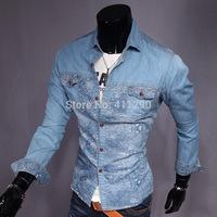 Fashion new men's denim shirt denim shirt printing Slim models long-sleeved shirt men