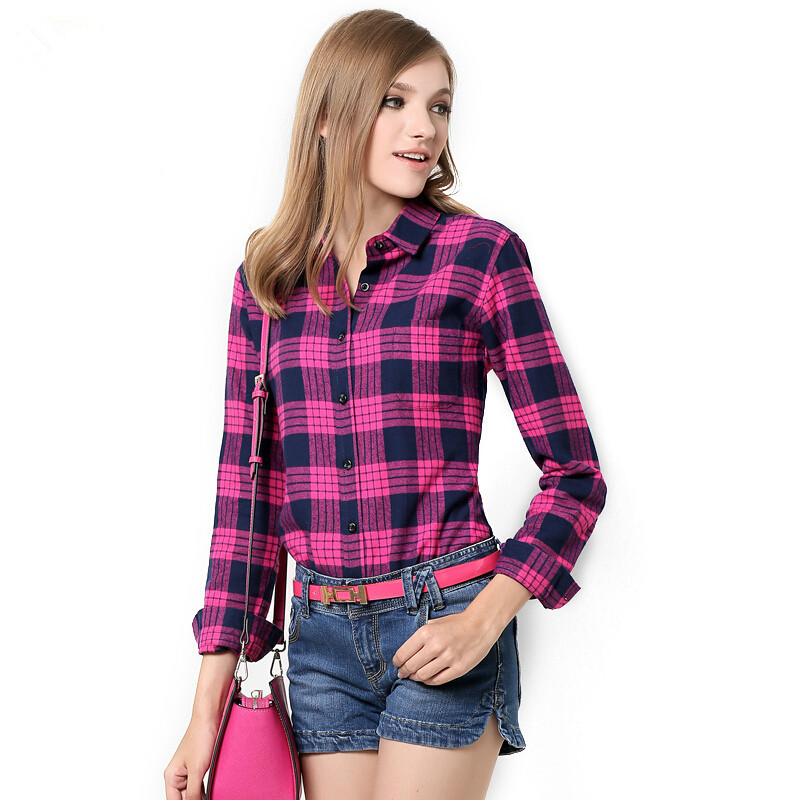 Womens Red Plaid Shirts Blouses 102