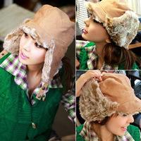 Korean winter Plush earmuffs cocky turned eaves cap Lei Feng warm hat children