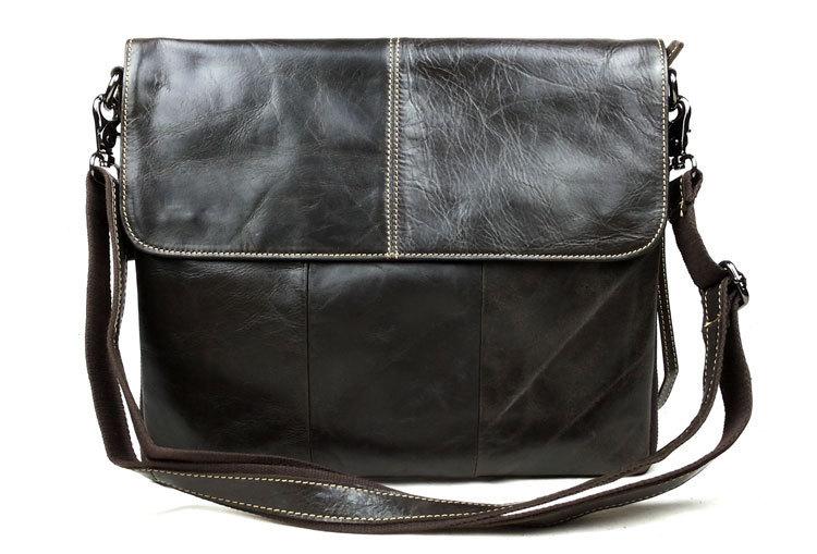 free/drop shipping good quality soft oil genuine leather men's messenger bag fashion vintage school bag laptop cross body bags(China (Mainland))
