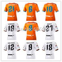 Thailand quality camiseta Valencia CF 2014 2015 away orange soccer jersey PACO FEGHOULI PAREJO PIATTI jerseys