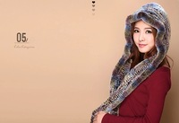 2014 winter  gradient color   hooded  scarf warm genuine  rex  rabbit fur lady  natural  mink fur cap neck warmer  free shipping