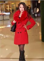 2014 Winter Coat Women Red Long Sleeve Coat Fashion Casual Fox Fur Collar Warmth Winter Jacket Cotton Coat Free Shipping