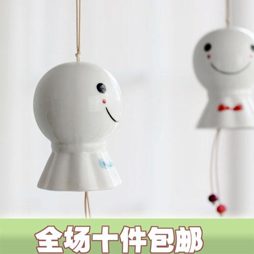 encantos Handmade estilo japonês vento cerâmica carrilhões boneca cabeça grande sinos de vento casa(China (Mainland))