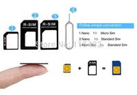 Wholesale DHL Free 2000PCs 4in1 Nano Sim Card Adapters  Micro Sim Stander Sim Card SIM Card Tools For Iphone 4 4S 5 6 Retail Box