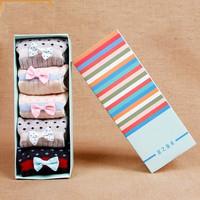 2014 Bowknot Wool socks women thermal winter rabbit wool socks female thickening towel 100% cotton socks meias gift sock box NM