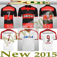 Flamengo Soccer jerseys Camisetas 2015 Football ZICO Shirt 14 15 Black White Thai quality Futbol Uniform jersey Custom Free ship