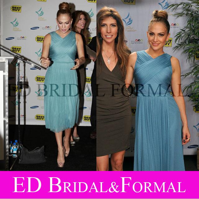 Jennifer Lopez Blue Chiffon Cocktail Dress Maribel Foundation 201(China (Mainland))