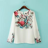 European Women Elegant Blouse Positioning Flower Print Long Sleeve Chiffon Shirt -L020