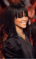 Rihanna style short natural black straight human hair bob lace front wig with bang