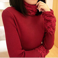 Slim Korean version of the new winter piles lace collar long-sleeved sweater thick turtleneck shirt female 110601