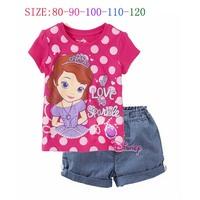 2014 Limited Promotion Freeshipping Character Girls Cotton Upset Pure Cotton Summer Female Child Set Sofia Short-sleeve P30