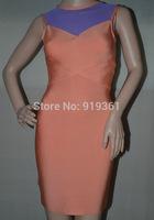 free shipping 2014 high quality new arrival blue mesh sleeveless orange Bandage Dress ladies' party evening dress wholesale