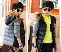 2014 New kids cotton overcoat boys winter jacket kids patchwork thick coats