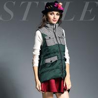 2014 fashion personality stripe patchwork slim double pocket down outerwear