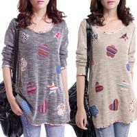 M-3XL 2014 New women autumn plus size small fresh applique hemming Casual basic shirt casual Patch t-shirt Blouse Tops