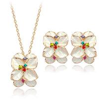 Fashion Women Earrings Necklace Jewelry Sets Gold Plated Austrian Crystal White/Black Enamel Flower Earring Set /Necklace Set
