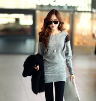 Free shopping loose-waisted pullover o-neck long-sleeve basic slim hip one-piece dress