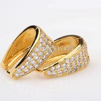 "Top quality 24K yellow Gold Filled girls womens earrings ""U""shaped Austrian crystal Carving patterns Hoop Earrings"