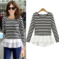 2014 Autumn New Casual Long Sleeve T Shirt Women Black White Striped Fake Two Piece Chiffon Spliced Bottoming Shirt S-XL 3051#