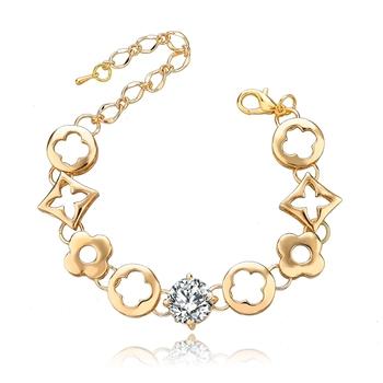 Стиль известный бренд браслет для женщин позолоченные цепи браслет оптовая продажа 2014 цветок цирконий браслет SBR140581