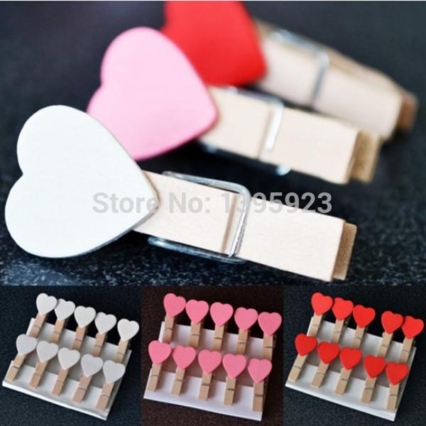 10Pcs/Lot Mini Heart Love Wooden Clothes Photo Paper Peg Pin Clothespin Craft Clips(China (Mainland))