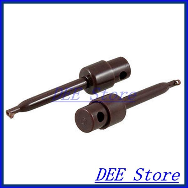 "2.2"" Long Plastic Lead Wire Probe Test Hooks Testing Clip Dark Brown x 2(China (Mainland))"