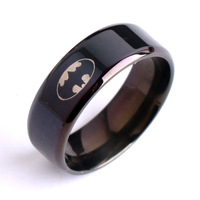 20pcs/lot 8mm Black Bat man moive 316L Stainless Steel finger rings for men jewelry Free shipping wholesale