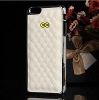 "30pcs! for iphone 6 4.7"" i6 6G plus 6s 5.5"" Chrome Golden Brand CC logo Case Luxury Grid Pattern Sheep Leather Aluminum Cover"