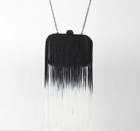 2014 Fashion Women Evening Clutch Bags Gradient Color Tassel Bag Famous Brand Designer PU leather Mini Bolsas Femininas 0122A