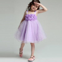 Aones Flower Princess Girls Dress Rose  Wedding Dresses For Children Gauze Summer Floral Kids Suspender Party Clothes EDS-004