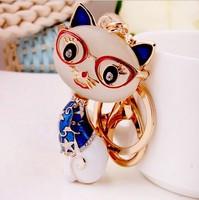Spot wholesale full drill natural stone cat Keychain creative gift car pendants KEYCHAIN WHOLESALE