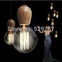 Led EDISON Native Wood Handmade Muuto E27 Arts Bar Wooden Chandelier Hanging LED Pendant Lamp Lights Lighting Bulbs