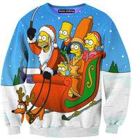 Free Shipping Sweatshirt Tracksuits Original Genuine Popular Homer 3D printing Christmas sleigh elk Simpson Long-sleeved Sweater