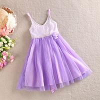 NEW ! 2014 girl summer flower sequined dresses , dress for girl , princess dress girl , 5pcs/lot   WMX11
