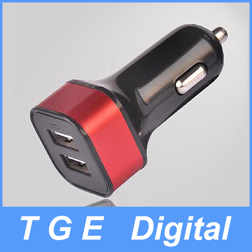 SN143 Dual USB Port Car Charger Square Shape 4.2A for Mobile Phone Tablet PC 5 Color(China (Mainland))