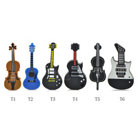 Top Quality Best Gift fashion Instrument electric Guitar violin shape 4GB-32GB USB 2.0 Memory Stick Flash Pen Driver U Disk