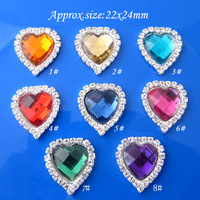 100pcs/lots 22x24mm Acrylic Heart Rhinestone flatback Buttons for flower center RMB44
