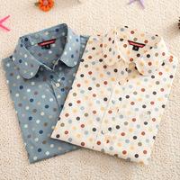 Fashion Women cotton Blouses Women dot Print Lapel Casual Long Sleeved Shirts Women Tops -L018